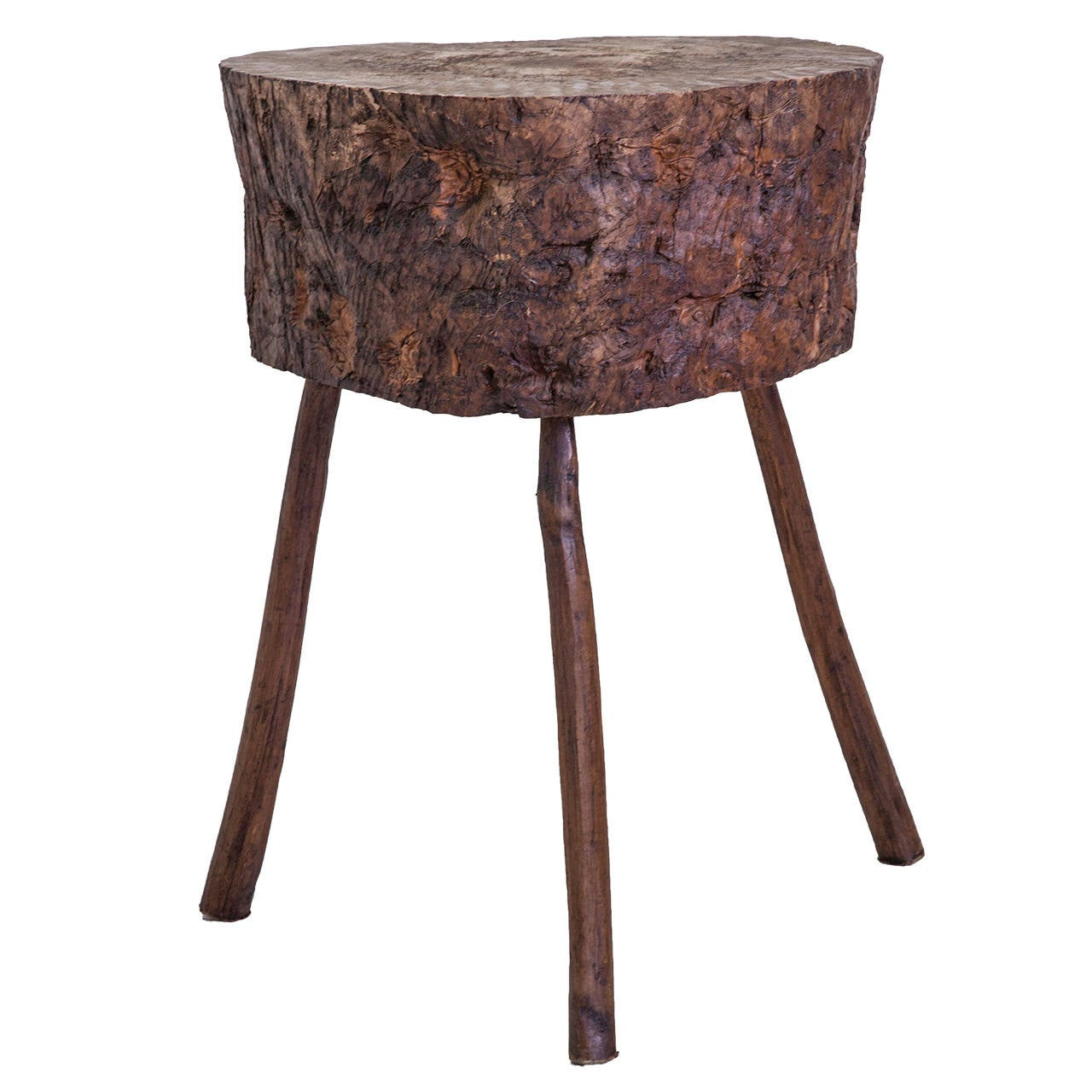 Tall Primitive Standing Butcher Block Or Side Table From Normandy For Sale