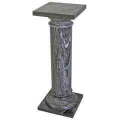 Large Classical Marble Column or Pedestal in Deep Gray