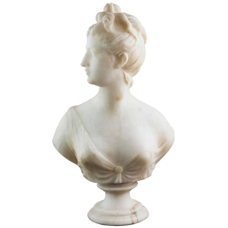 19th Century Solid Marble Bust of Diana, Goddess of the Hunt 1