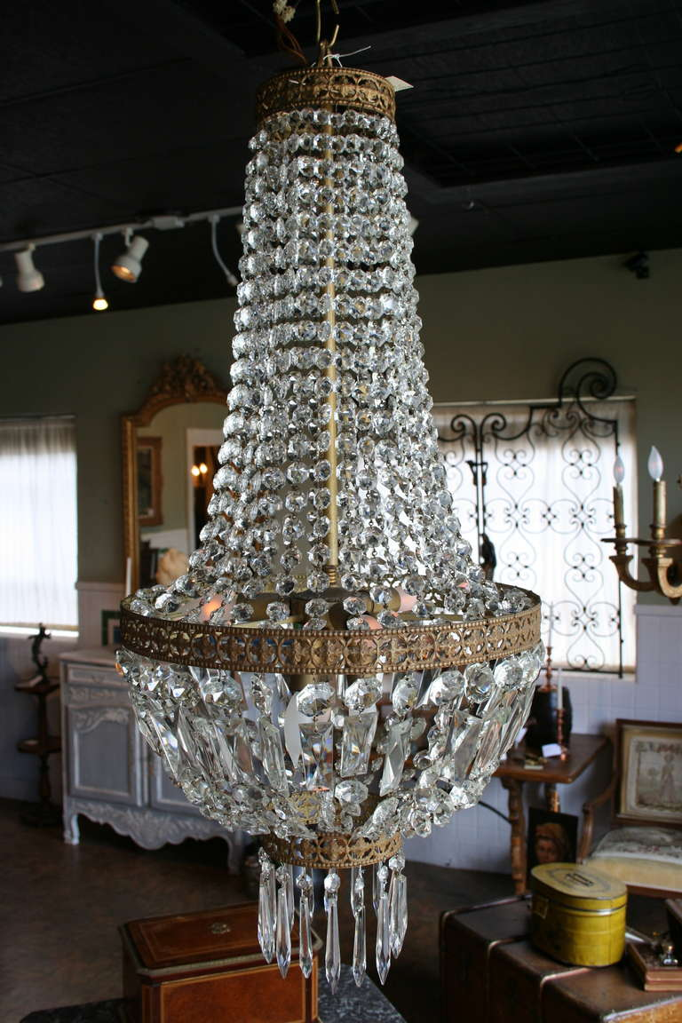 19th century regency sac a perles or basket crystal and bronze french 19th century regency sac a perles or basket crystal and bronze chandelier for sale aloadofball Choice Image
