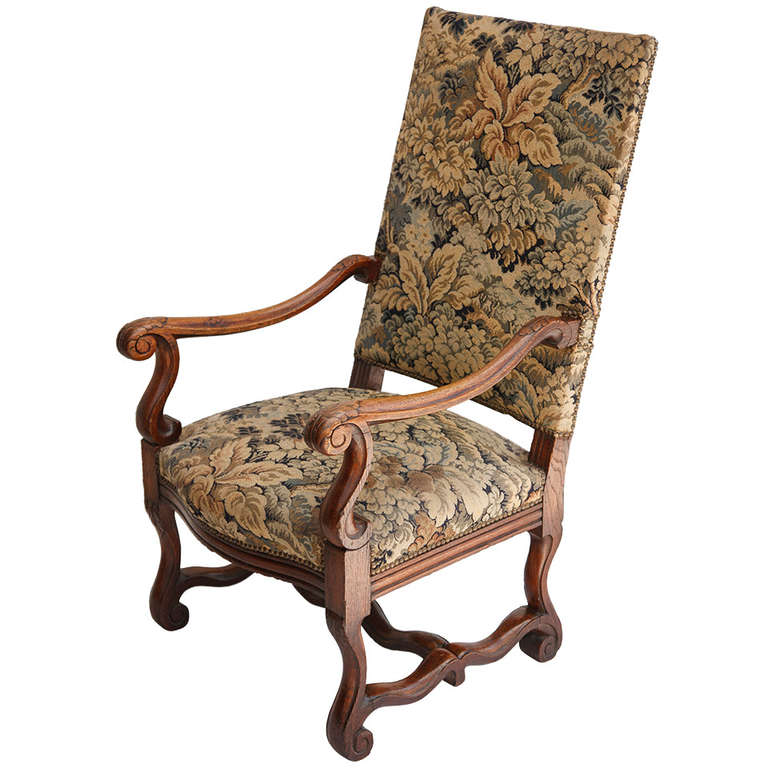 19th Century Louis XIV Style Hand Carved Armchair at 1stdibs