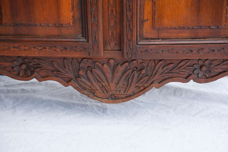 Hand Carved Normandy Vitrine Or Bibliotheque With Original Glass At 1stdibs