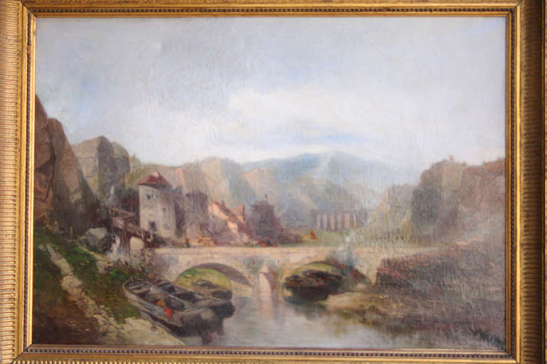 This 19th century oil on linen is in its original giltwood frame. The landscape scene depicts a sleepy Italian villa above a bridge and stream with boats. Signed L. Vincent. Dimensions: 18 inches H X 25 inches W unframed.