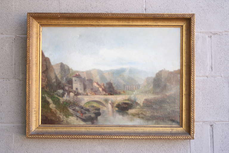 19th Century Italian Landscape in Giltwood Frame For Sale 2
