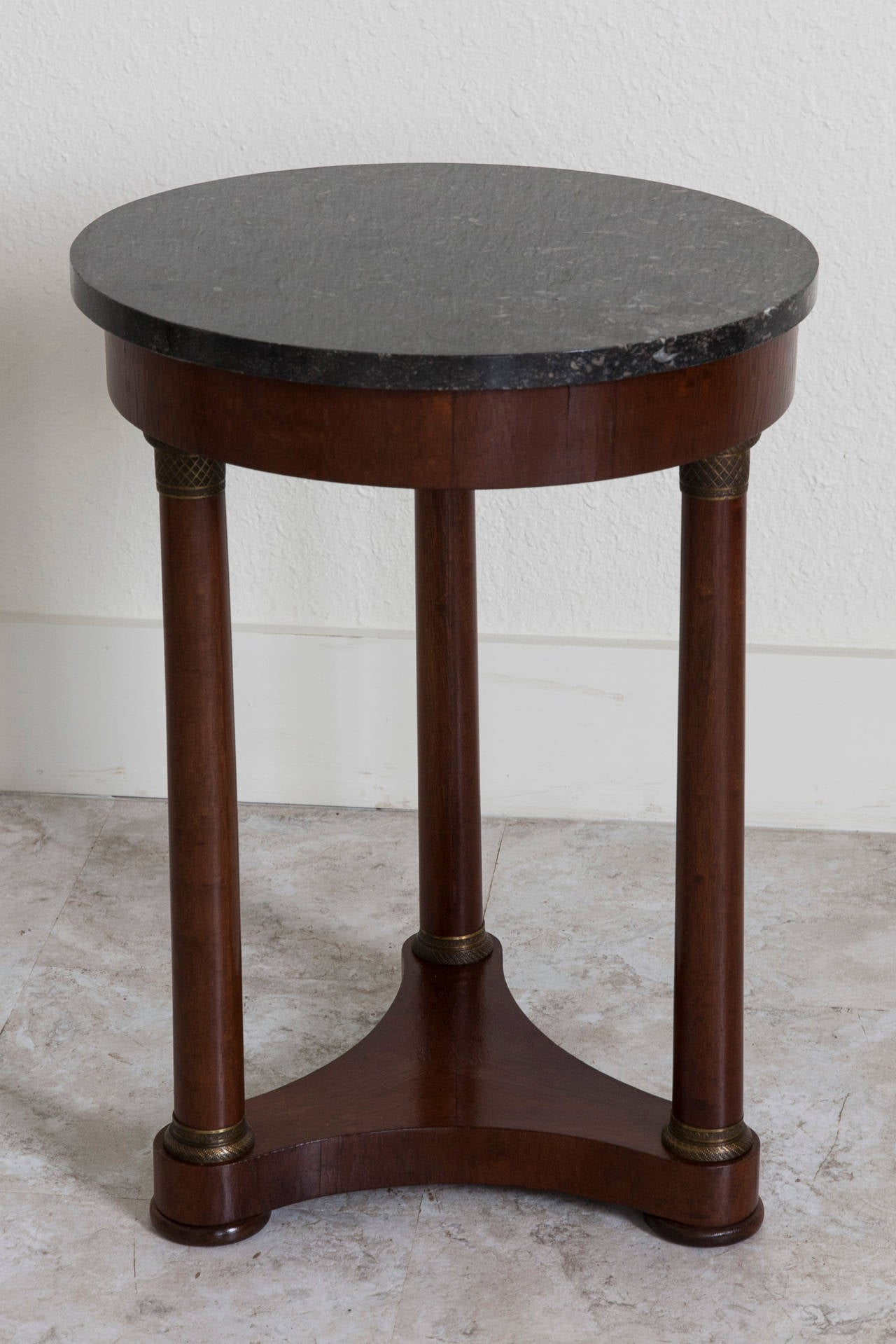 Period empire walnut gueridon or side table with black for Table gueridon