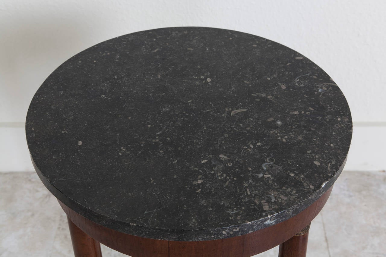 Empire Walnut Gueridon Or Side Table With Black Marble Top At 1stdibs