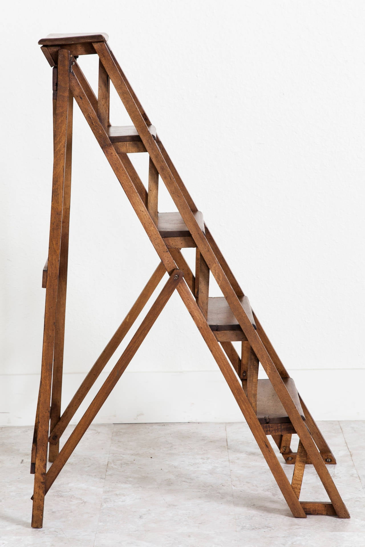 Handmade French Folding Library Ladder At 1stdibs