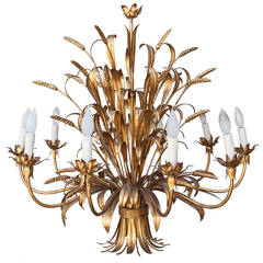 Grand Ten-Arm Mid-Century French Gilt Tole Sheaves of Wheat Chandelier