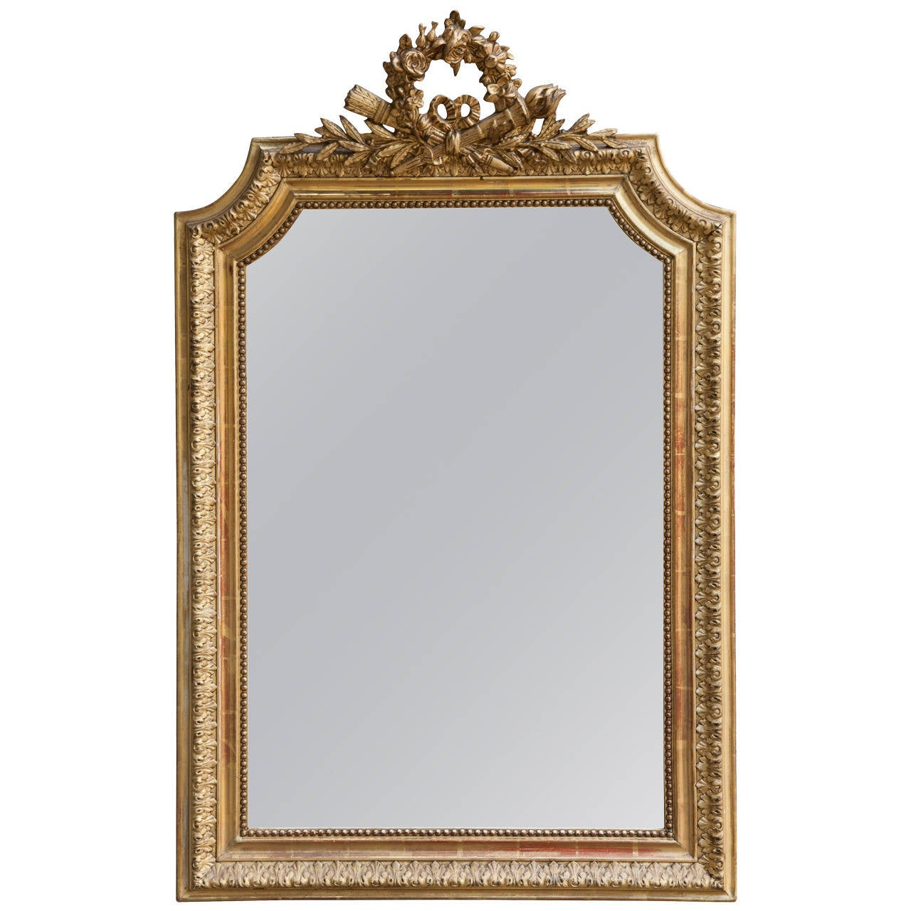 French louis xvi style 19th century gold gilt mirror at for Gold wall mirror