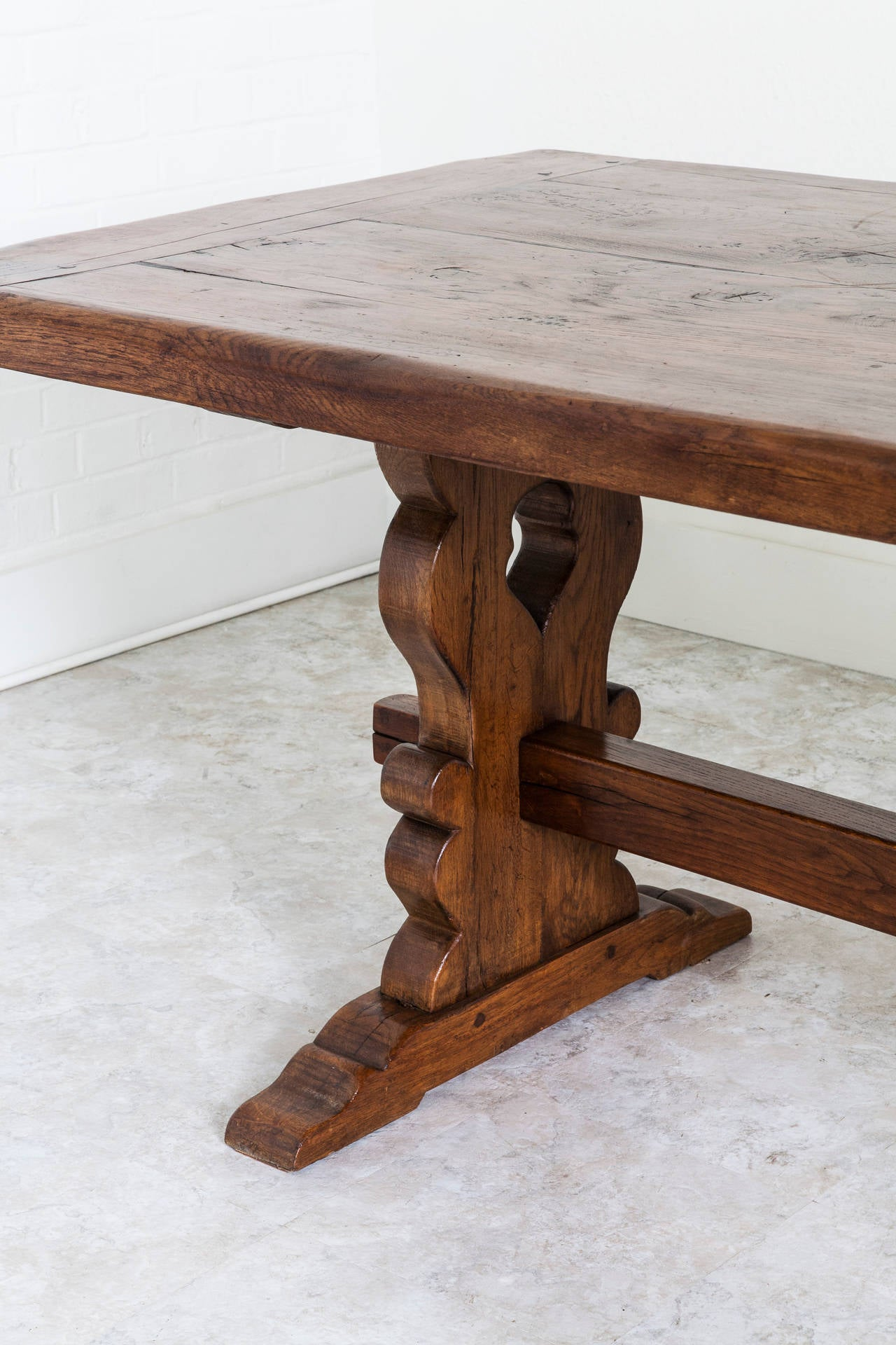 Antique French Solid Oak Trestle Dining Table From
