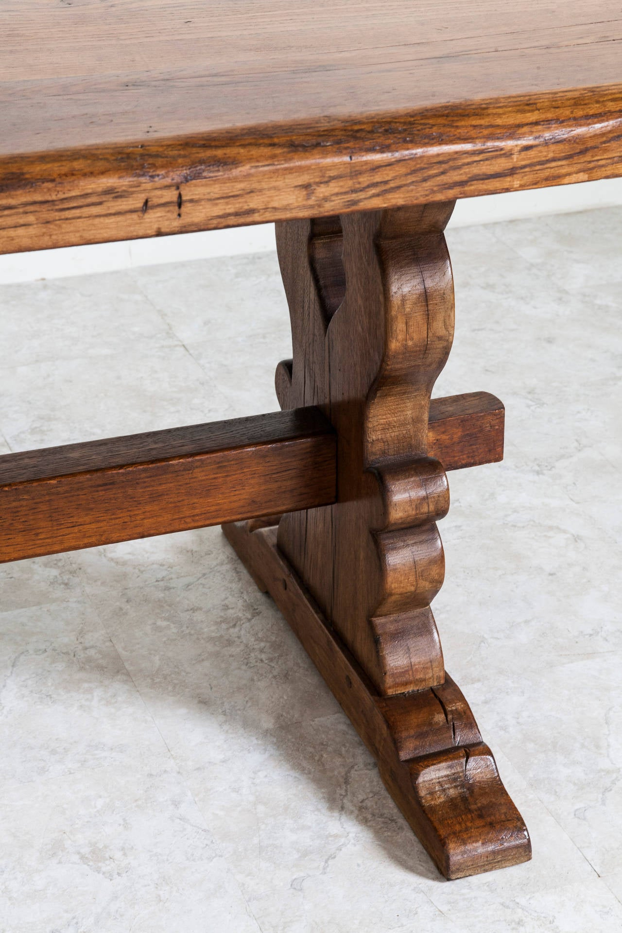 Antique French Solid Oak Trestle Dining Table From Normandy, Circa 1900 2