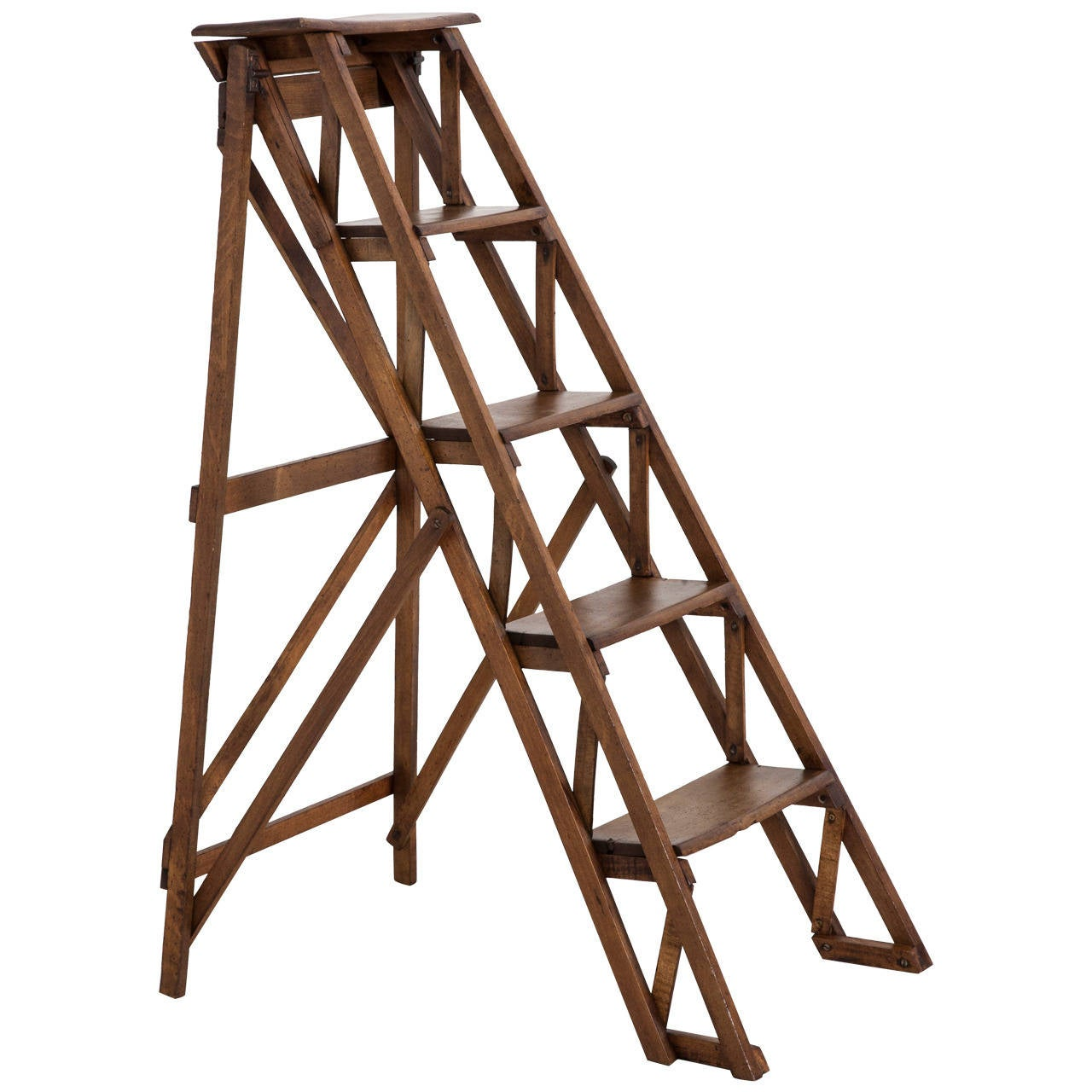 Handmade french folding library ladder at 1stdibs for Folding stairs