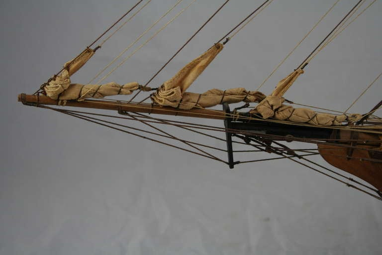 Wooden Model Ship with French Flag 4