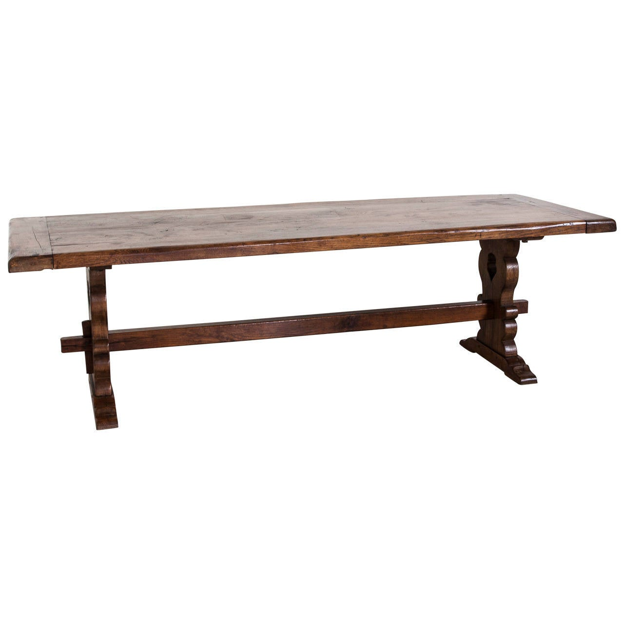 Antique french solid oak trestle dining table from for Solid oak dining table