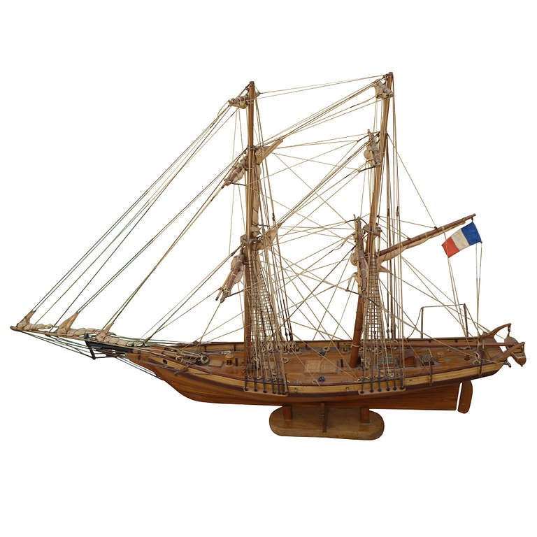 Wooden Model Ship with French Flag