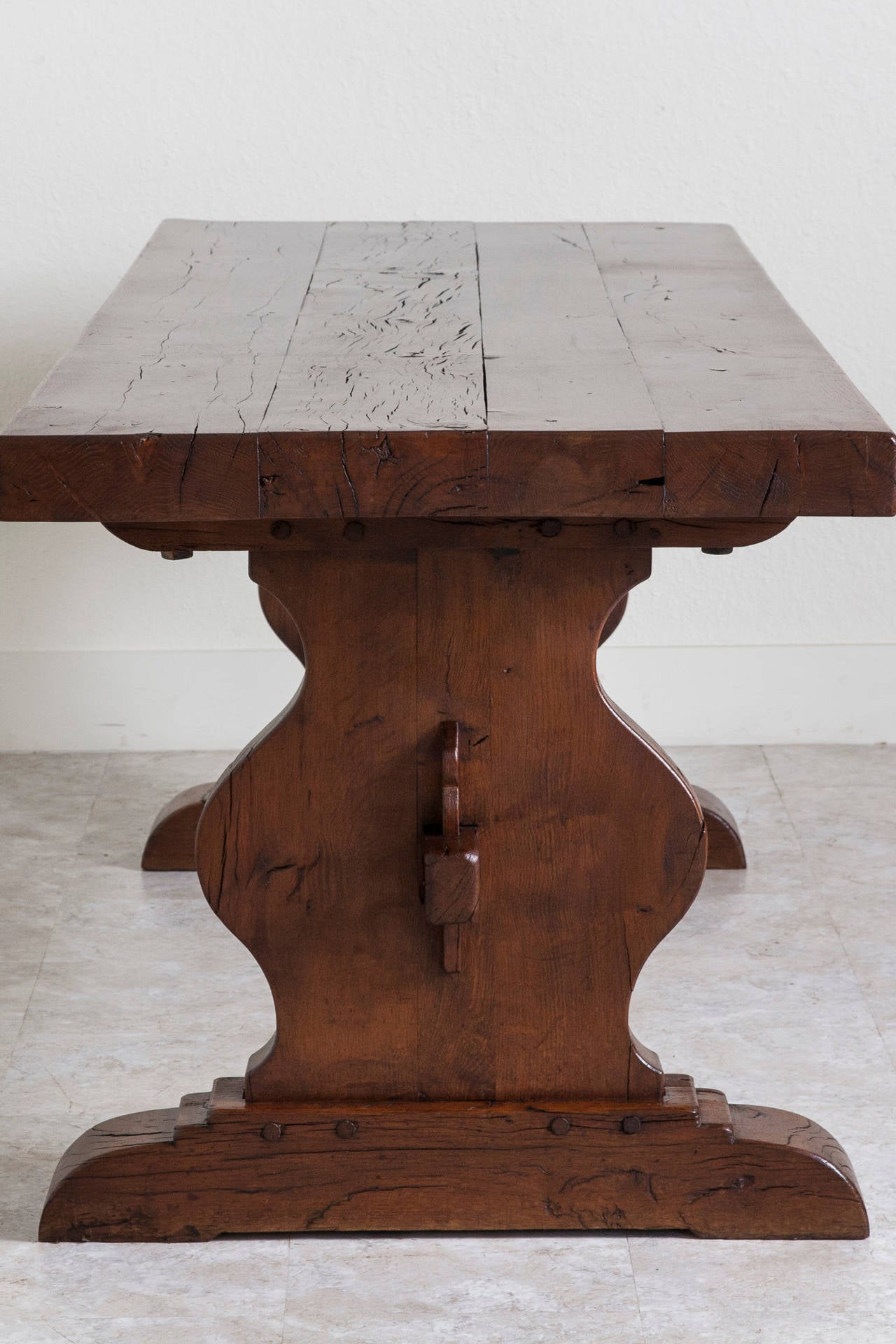 Antique French Oak Farm Table In The Monastery Trestle Style From Normandy 2