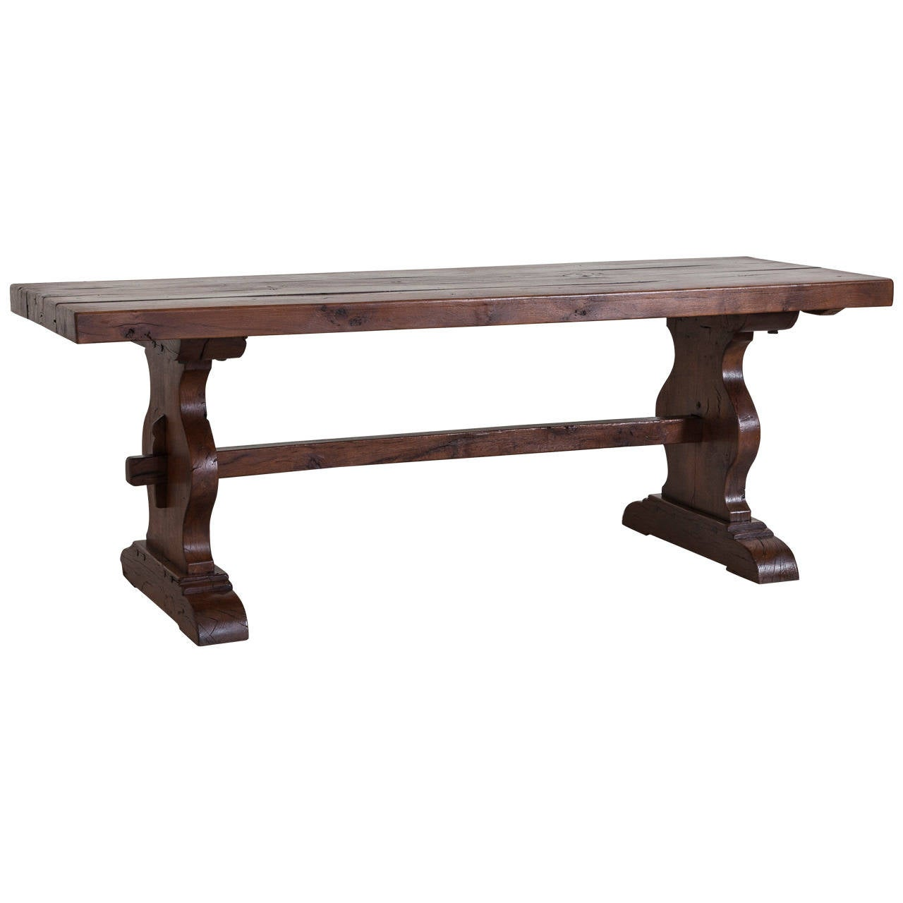 Antique french oak farm table in the monastery trestle style from normandy at 1stdibs - Antique french dining tables ...