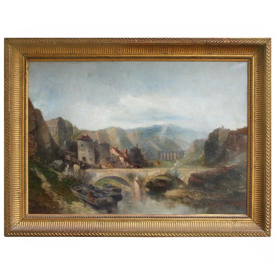 19th Century Italian Landscape in Giltwood Frame