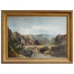 19th Century Italian Landscape in Giltwood Frame