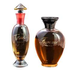 Two Grand French Vintage Perfume Factice Bottles Tocade and Femme Rochas