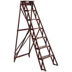 Antique French Handmade Beechwood Library Ladder