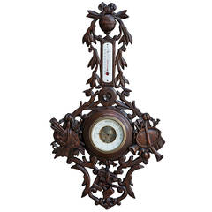 19th Century French Black Forest Barometer with Arts Attributes
