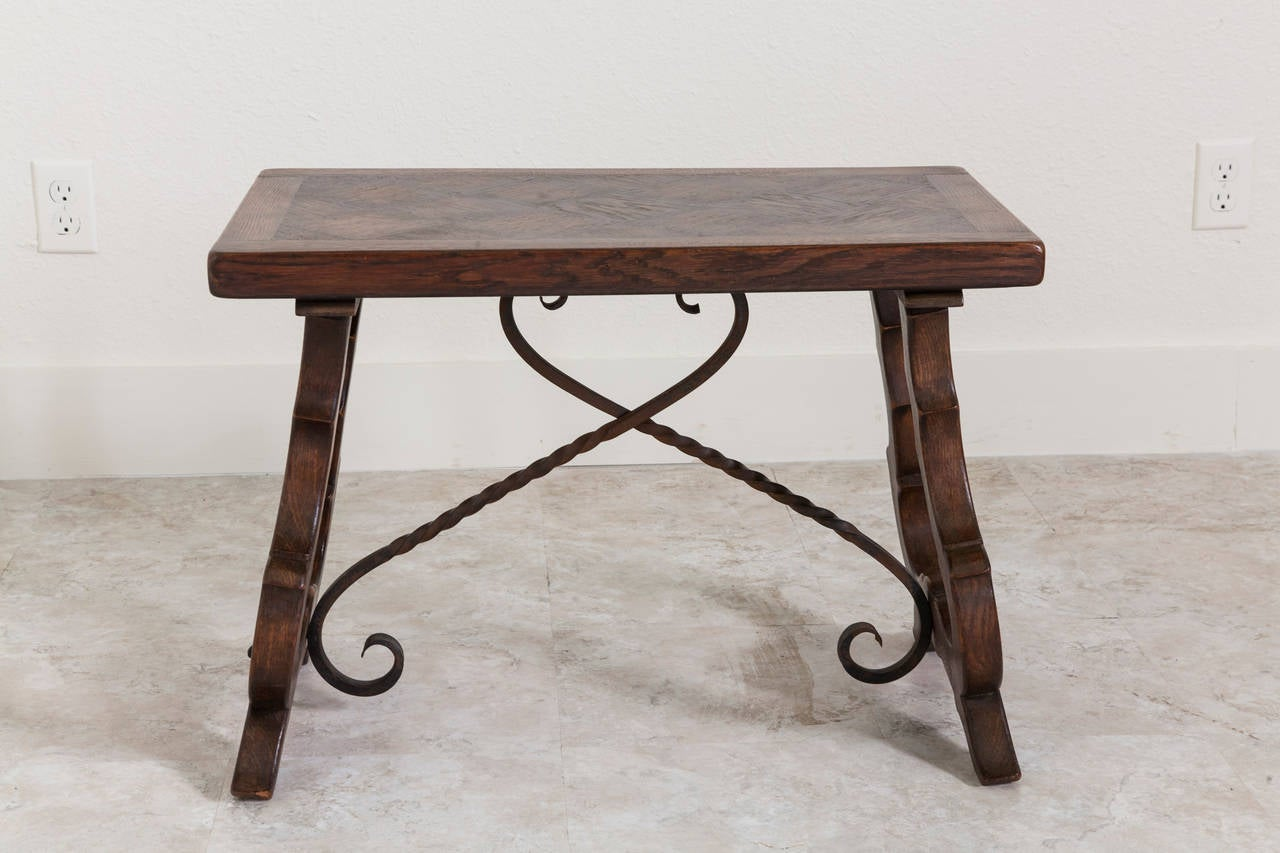 Solid Oak Spanish Style Bench Or Coffee Table With Iron Stretchers At