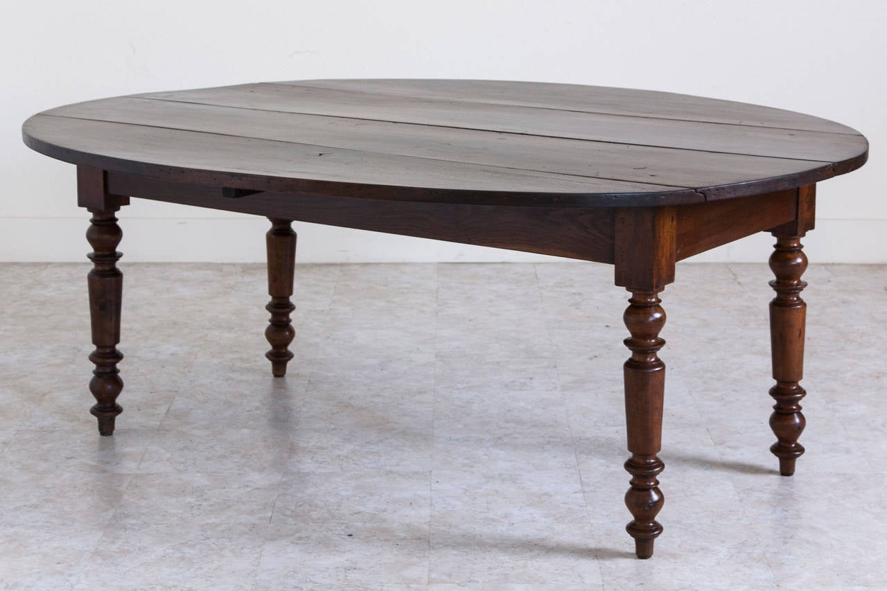Antique French Oval Farm Table of Solid Walnut at 1stdibs