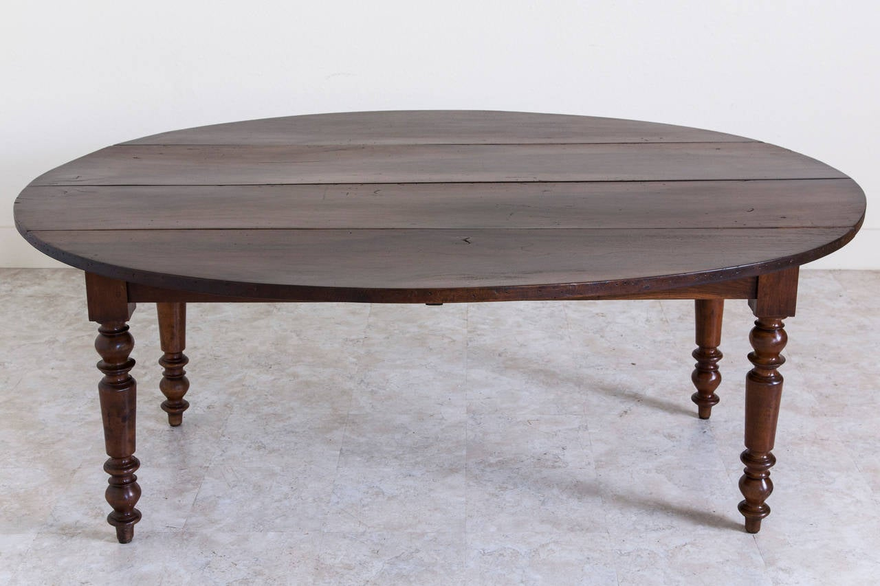 Antique French Oval Farm Table of Solid Walnut 1