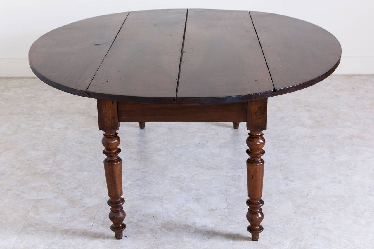 Early 20th Century Antique French Oval Farm Table of Solid Walnut