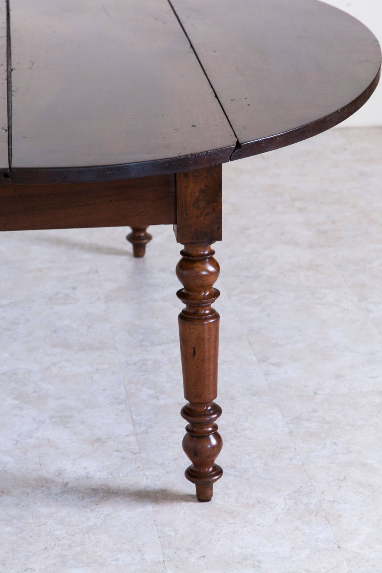 Antique French Oval Farm Table of Solid Walnut 2