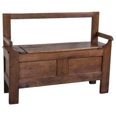 19th Century French Solid Oak Coffer Bench