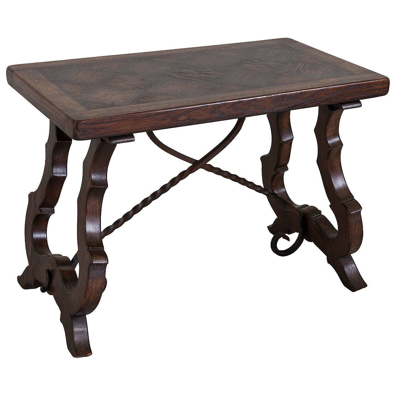 Solid Oak Spanish Style Bench Or Coffee Table With Iron Stretchers At 1stdibs