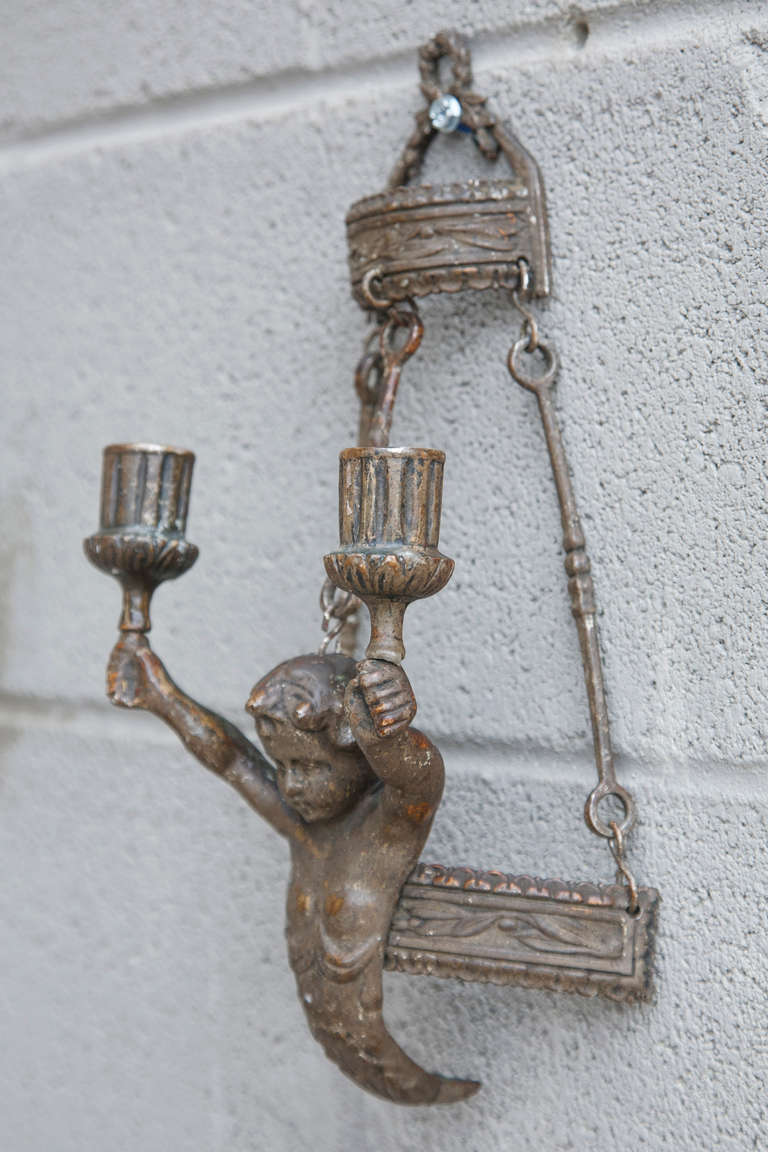 Pair of 19th Century Bronze Candle Sconces with Putti at 1stdibs