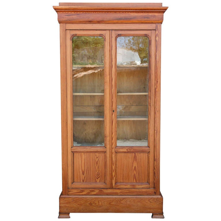 19th Century Louis Philippe Pine Bookcase with Antique Glass Doors at 1stdibs