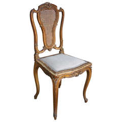 19th Century Giltwood Louis XV Side Chair with Caned Back