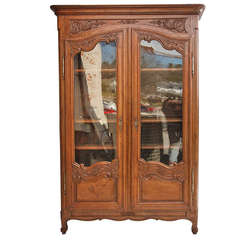 Carved Oak Louis XV Vitrine or Armoire with Original Glass