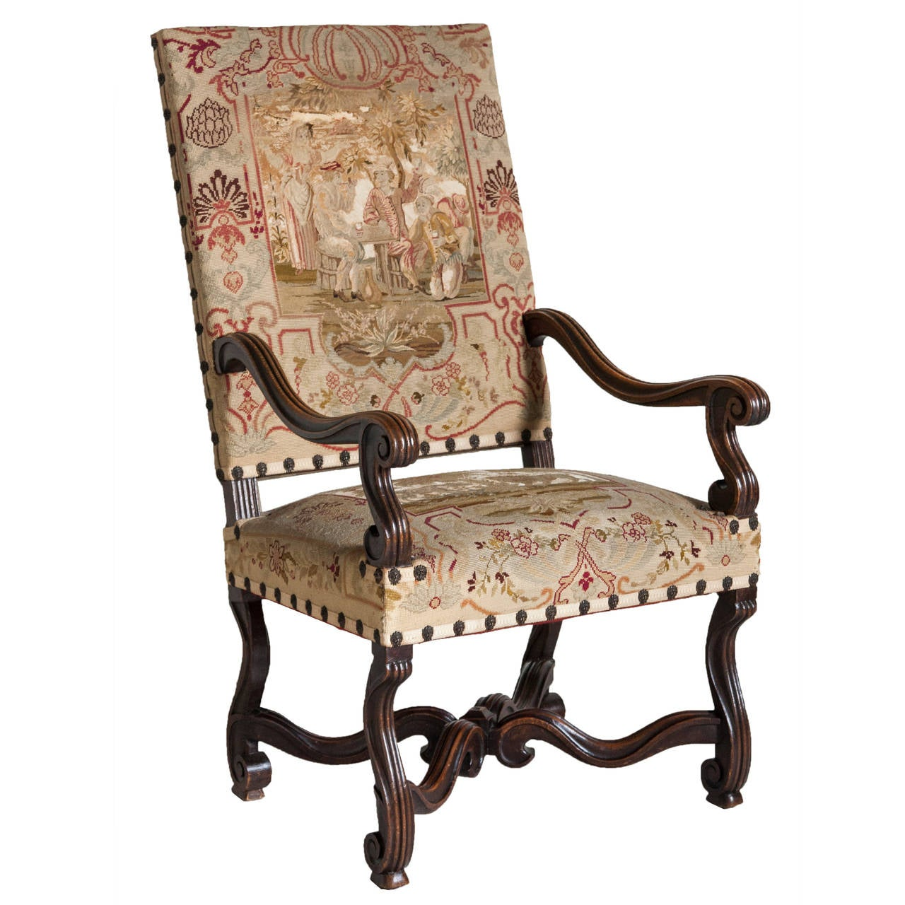 19th Century French Louis Xiv Style Walnut Armchair With Original Needlepoint For
