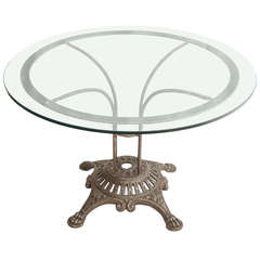 Antique French Iron Dining or Garden Table with Round Glass Top, circa 1900