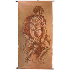 Grand Scroll Painting on Canvas of Classical Figure