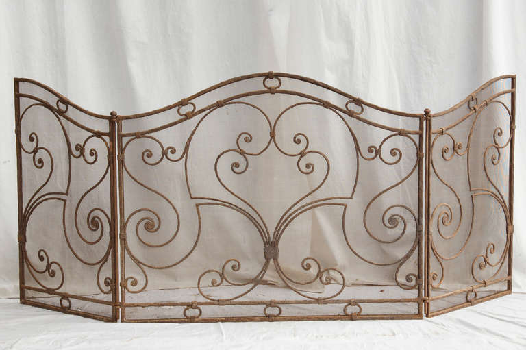 Forged Iron Fireplace Screen : Th century hand forged iron fireplace screen at stdibs