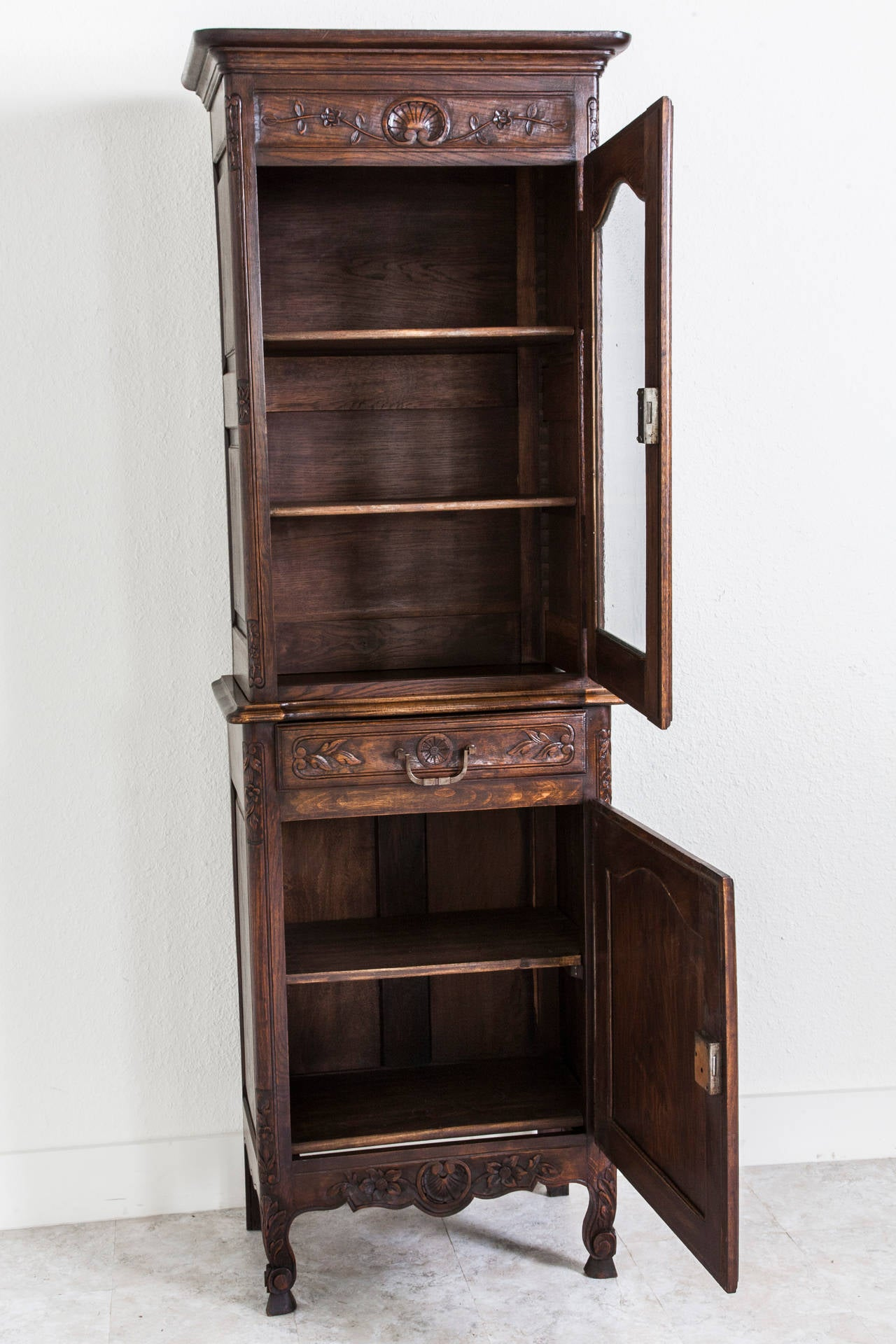 antique french oak hand carved louis xv style normandy cabinet or vitrine at 1stdibs. Black Bedroom Furniture Sets. Home Design Ideas
