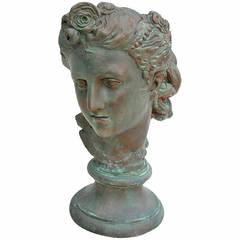 Art Nouveau Patinated Plaster Bust