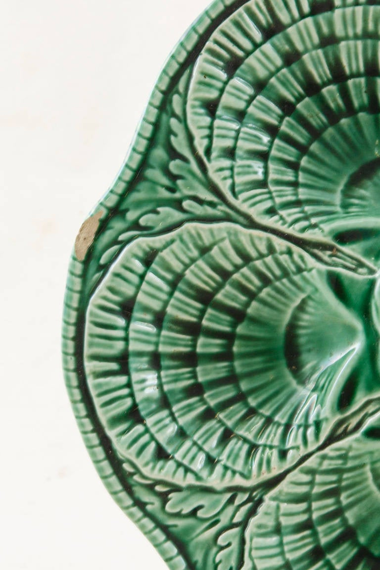 four french sarreguemines majolica oyster plates for sale. Black Bedroom Furniture Sets. Home Design Ideas