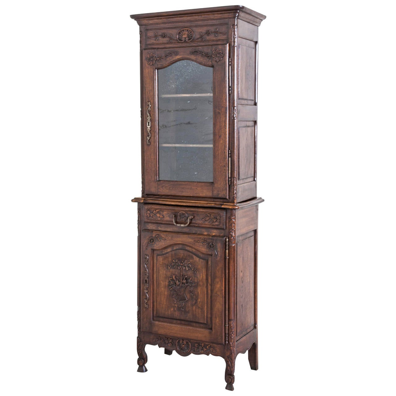 Antique French Oak Hand-Carved Louis XV Style Normandy Cabinet or Vitrine  For Sale - Antique French Oak Hand-Carved Louis XV Style Normandy Cabinet Or