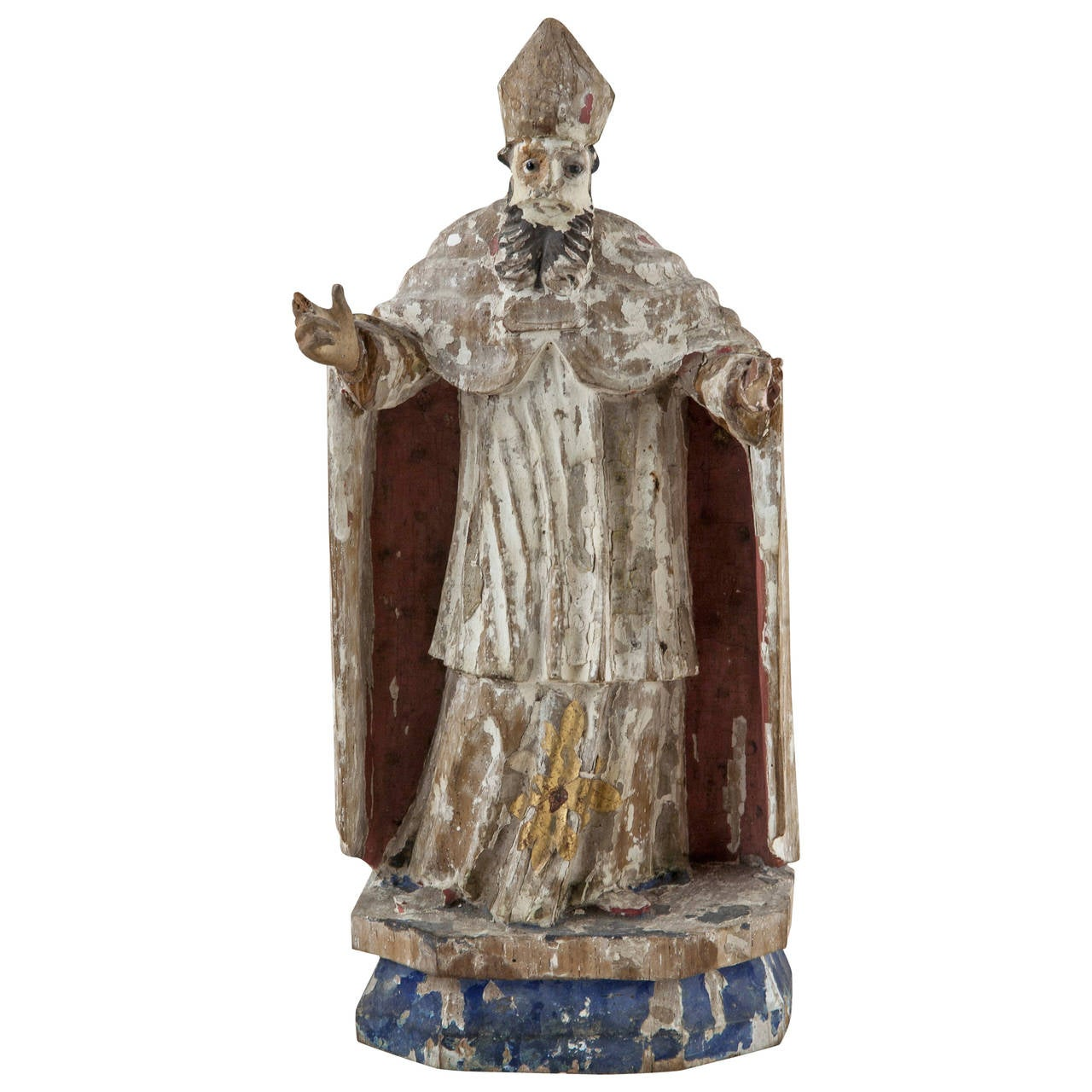 17th Century French Carved Wood, Polychrome Figure of a Bishop
