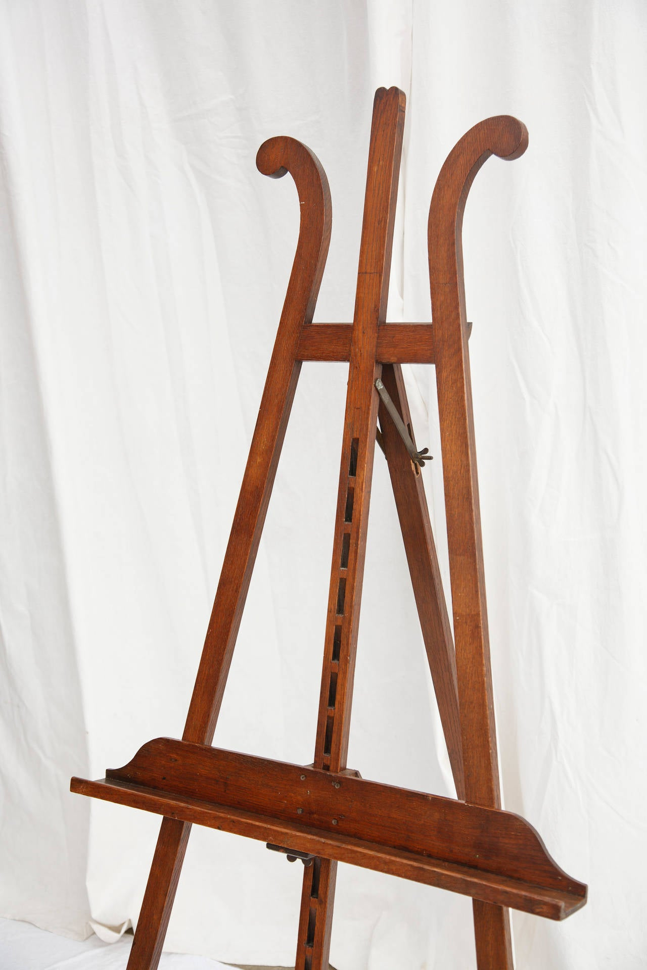 Antique French Artisan Made Oak Floor Easel With