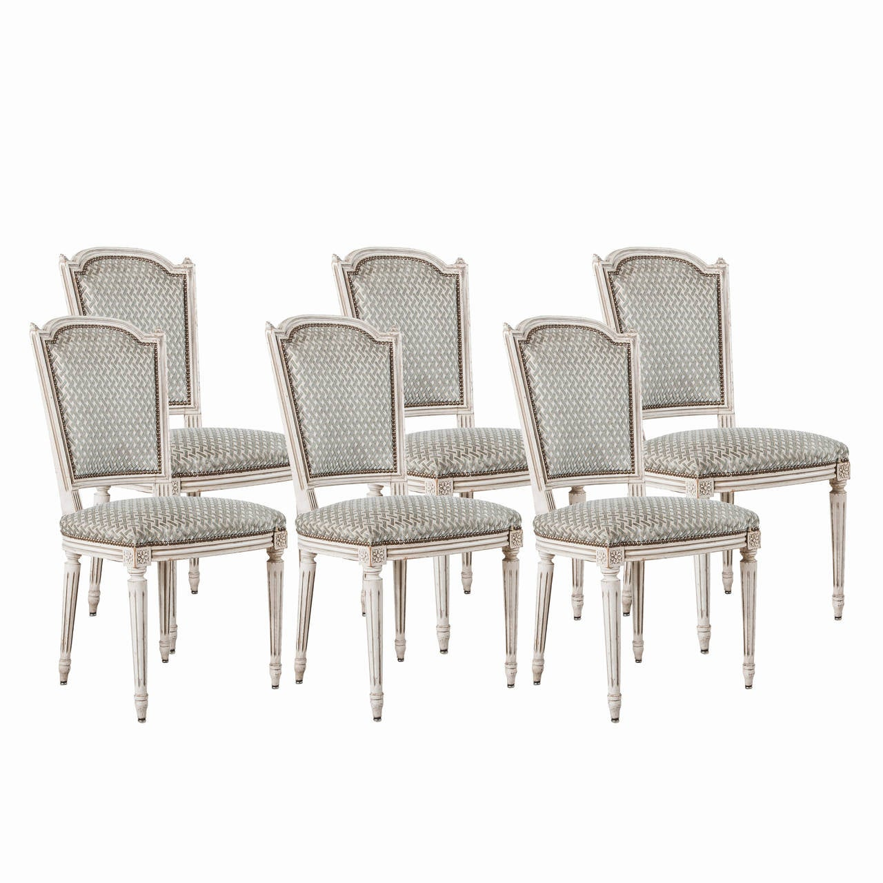Set of six jansen louis xvi style dining chairs in white with nailhead trim at 1stdibs - Nailhead dining room chairs ...