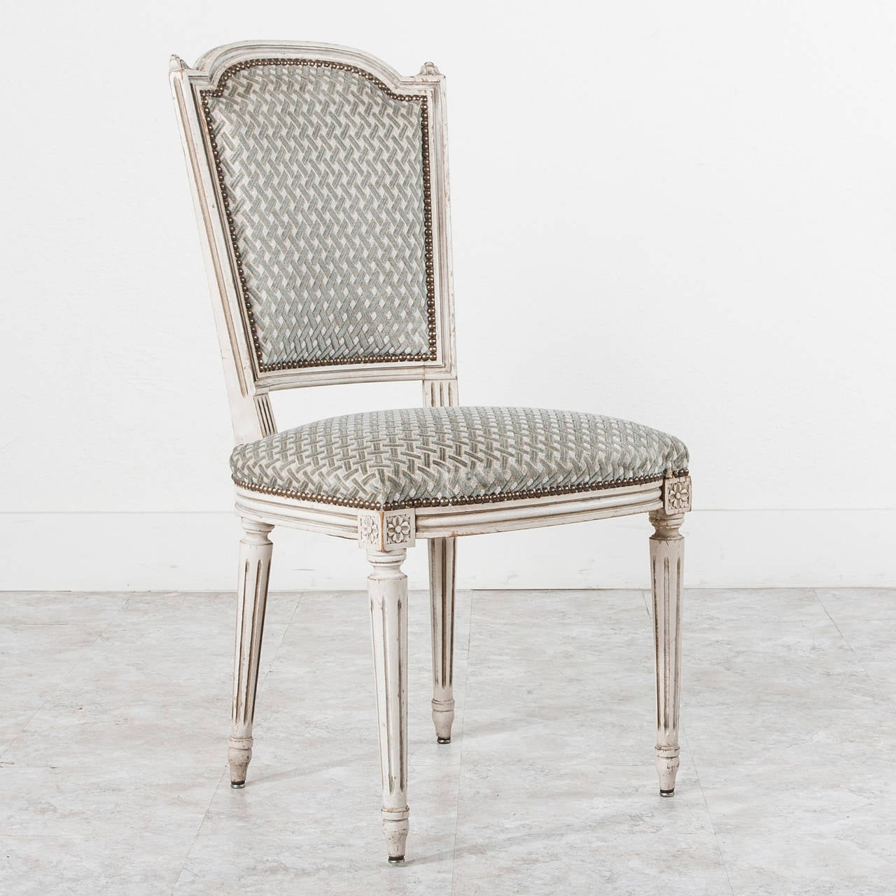 Set of Six Jansen Louis XVI Style Dining Chairs in White
