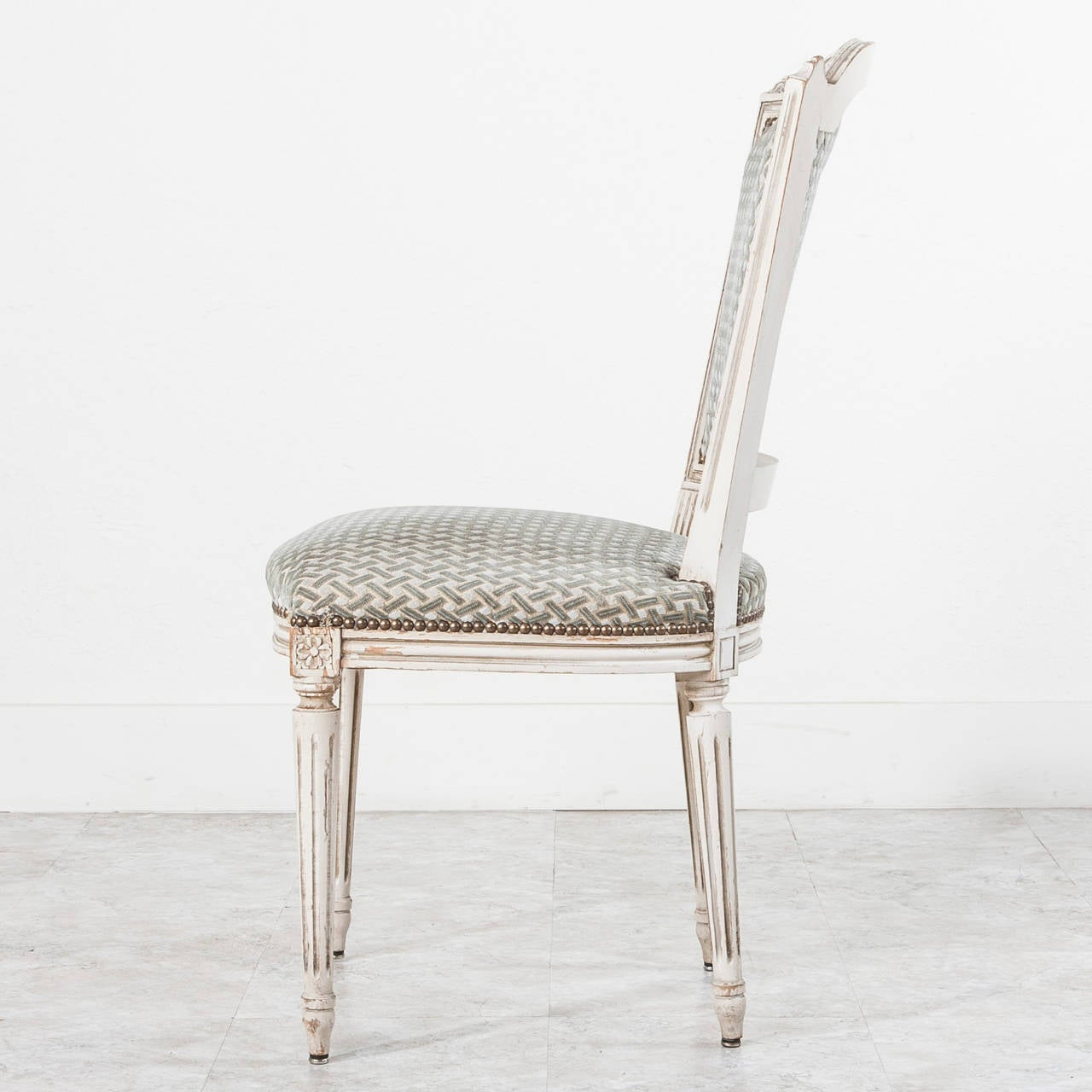 Set of Six Jansen Louis XVI Style Dining Chairs in White with ...